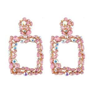 Gold-tone plated Crystal Drop down earrings door